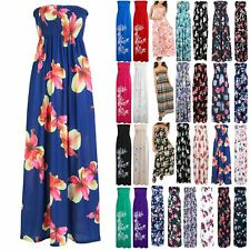 Women Ruched Sheering Boobtube Strapless Bandeau Ladies Floral Rose Maxi Dress