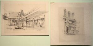 Pair of Original Pencil Drawings by COLIN GIBSON of HOGGS in Portadown & Belfast