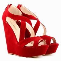 Womens Lady 14cm High Heels Suede Platform Pumps Shoes Wedge Sandals Plus Size
