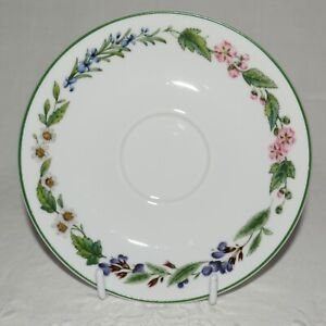 """Royal Worcester """"WORCESTER HERBS"""" (Green Trim) - Saucer for Tea Cup - LIKE NEW"""
