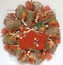 New! Full! Premium Handmade Country Pumpkin Button Autumn Deco Mesh Wreath