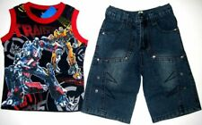 BNWT Transformers Tank top 3/4 jean denim pants boys kids outfit set brand new