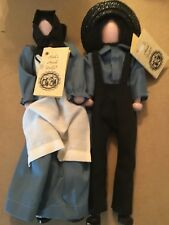Ruths Amish 11� Dolls Male & Female Made Of Wood Ooak 1999 Signed Jointed