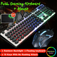Rainbow LED Backlit Wired PC Gaming Keyboard Mechanical Feel Gaming Mouse +