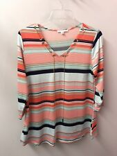 NOTATIONS M Boho Tunic Lacing Chains V Neck Knit Top Euc Lkn