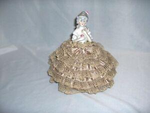 Vintage Antique French Porcelain Doll Satin & Lace Pincushion Pin Cushion NICE