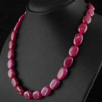 347.50 CTS EARTH MINED OVAL SHAPE RICH RED RUBY BEADS SINGLE STRAND NECKLACE
