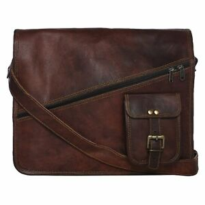 """15"""" Real Distressed Vintage Leather Satchel Messenger Work Laptop Briefcase Bag"""