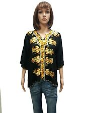 Vintage Black Embroidered Women's ARABIC Islamic Blouse Shirt From Middle East