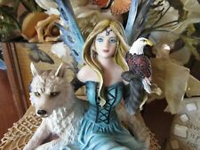 """7 1/2"""" Blue-eyed Blonde Fairy Figurine with Wolf and Eagle New in Box"""