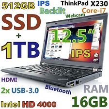 "Thinkpad X230 12.5"" IPS i7-3rd Gen (512GB SSD + 1TB 16GB) Webcam USB-3.0 Backlit"