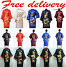 ~New Men's Silk/Satin Japanese Chinese Kimono Dressing Gown Bath Robe Nightwear