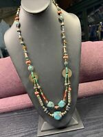 Vintage Turquoise  Bohemian Coin  Tiger' Eye Beaded Bib Statement Necklace  28""