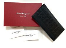 SALVATORE FERRAGAMO BLACK LEATHER GANCINI CHECKBOOK WALLET