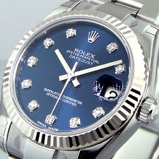 ROLEX DATEJUST 178274 MID SIZE 31 mm STEEL OYSTER BRACELET BLUE DIAMOND