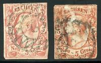 GERMANY STATES SAXONY SCOTT# 13 MICHEL# 12 USED LOT OF 2 AS SHOWN