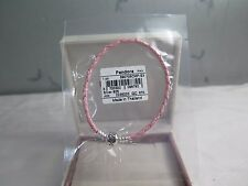 New Pandora Pink Braided Leather LARGE 8.1 Bracelet 590705CMP S3 GIFT SET AVAIL