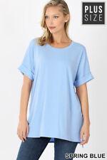New! ZENANA plus size spring blue rolled short sleeve scoop neck hi/lo hem tee