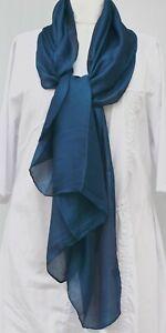 STUNNING INTENSE BLUE SILK/VISCOSE BLEND LUXURIOUS SHEEN PLAIN SCARF