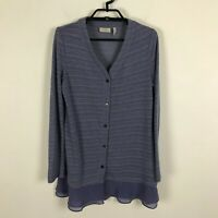 LOGO Lori Goldstein Cardigan Sweater Purple Size XXS Semi Sheer Striped Womens