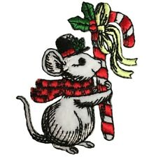 Christmas Mouse Applique Patch - Scarf, Hat, and Candy Cane (Iron on)
