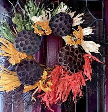 Fall Harvest Sunflower Door Wreath Thanksgiving Turkey Arrangement Halloween