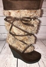 "DECREE Faux Suede Leather Fur Tall Slouch Style 4"" Wedge Eskimo Yeti Boots"