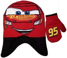 Disney Cars Boys Lightning McQueen Winter Warm Hat and Mitten Set Toddler 1.5-3