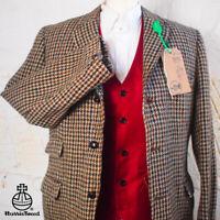 40R HARRIS TWEED Suit Blazer Jacket Brown Houndstooth Wedding Hunting #360