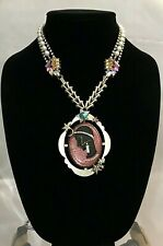 NWT Betsey Johnson CELESTIAL STARLET CAMEO Gold Tone Crystals & Pearls Necklace