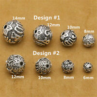 Sterling Silver Om mani padme hum Round Ball Beads 925 Silver Buddhism Yoga Bead