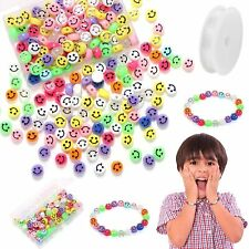 100 Pcs Smiley Face Beads Acrylic Happy Face for Bracelet Making, Arts and Craft