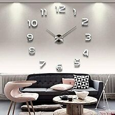 Large 3D Frameless DIY Wall Clock Stickers Wall Decoration Black Decor SOLEDI