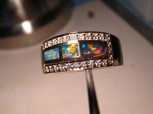 Brilliant  Men's Opal & Diamond  Ring  14k Gold   size 10 3/4