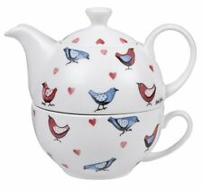 Alex Clark LOVEBIRDS TEA FOR ONE - Teapot + Cup Set FINE CHINA Birds Hearts