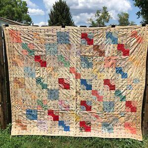 Vintage Handmade patchwork quilt 83.25 x 68.75