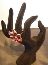 Girls Jewellery Gift Costume Dress Ring Red Flower Style Silver Tone Womens