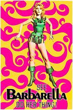 "Barbarella 1960's Movie Film Poster Large Art Reprint Poster 24"" x 36"""