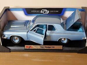 Maisto 1963 Dodge 330 Metallic Blue 1:18 Scale Diecast Model in original box