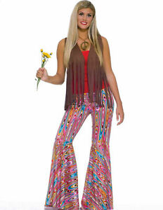 Bell Bottom Pants Swirls Retro 70's Hippie Women's Flare Pink Costume Accessory