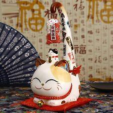 1 PC Ceramic Lucky Cat  Creative Long Tail Maneki Neko Shop Opening Decor Gift