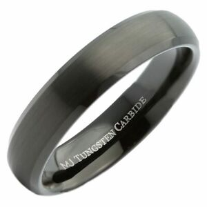 5mm Tungsten Carbide Black Plated Brushed Center and Polished Edge Ring
