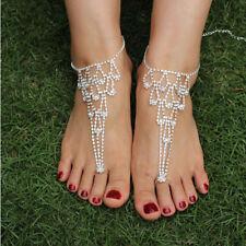 Women Barefoot Beach Sandals Bridal Wedding Rhinestone Anklet Foot Chain