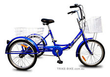 "Trike Bike 20"" Retro Tricycle 3 Wheeled Bicycle Folding Frame No Gears"