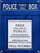 Nouveau 15x20cm Police Telephone Box vintage émail métallique de style Téléphone Signe Tardis