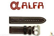 ALFA 24mm Dark Brown Genuine Textured Leather Watch Band Strap Anti-Allergic