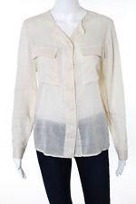Stella McCartney Beige White Cotton Striped Button Down Blouse Size EUR 38