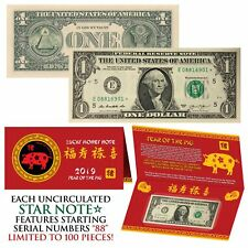 2019 STAR NOTE Lunar Year of the PIG Lucky Money $1 US Bill w/ Red Folder S/N 88