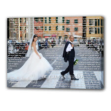 Your photo print to canvas. Customized with vows, lyrics, poem, quotes.