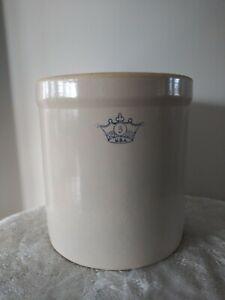 Vintage USA Robinson Ransbottom #3 Gallon BLUE CROWN Crock Stoneware